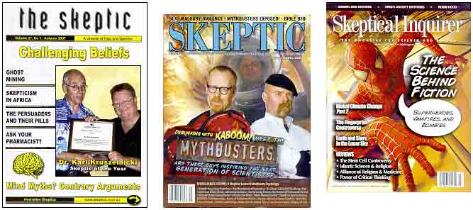 Three skeptic magazines